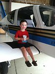 My youngest on the day we inspected the plane.